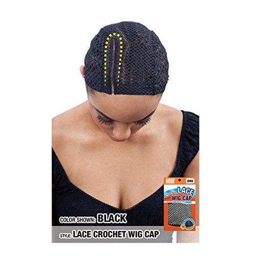 """Model Model Lace Crochet Wig Cap with Comb 5"""" #GB102 Black"""