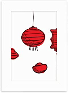 DIYthinker Red Lanterns Chinese Year of The Rooster Desktop Photo Frame Picture White Art Painting 5x7 inch