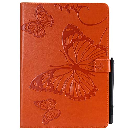 QiuKui Tab Cover 3D Butterfly Pattern PU Leather Protective Tablet Case for IPad Air 3 2019 Pro 10.5', Flip Stand Cover Smart Sleep Wake Up+pen (Color : Orange)