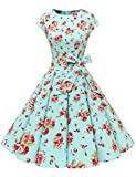 Dressystar Vintage 1950s Polka Dot and Solid Color Prom Dresses Cap-Sleeve M Blue Red Flower