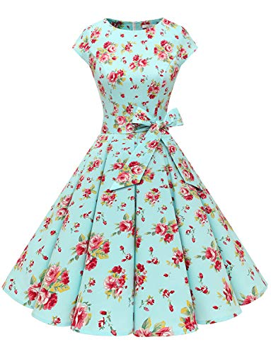 Dressystar Damen Vintage 50er Cap Sleeves Dot Einfarbig Rockabilly Swing Kleider Blau Rot Blume XXL