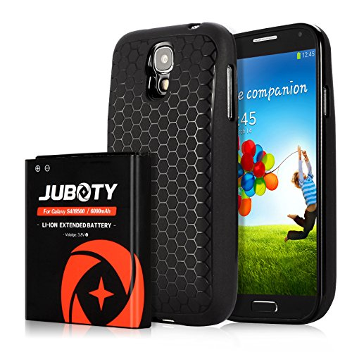Galaxy S4 Battery, JUBOTY 6000mAh Replacement Li-ion S4 Extended Battery and Black Back Cover and TPU Case(12 Month Warranty)