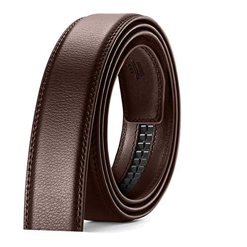 JKSNT Hombre Cinturón, Cinturón sin Hebilla Reemplazo de Cinturón de Trinquete 3cm, Durable Cuero Cinturón Marróno 115cm