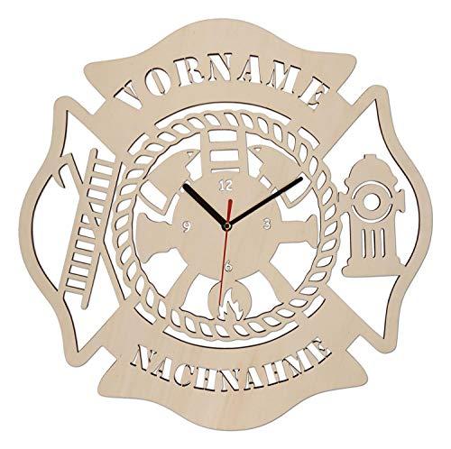 Wand Uhr Feuerwehr Geschenke Geschenkartikel mit Gravur aus Holz personalisiert für Männer Jungs Kinder Frauen Mädchen