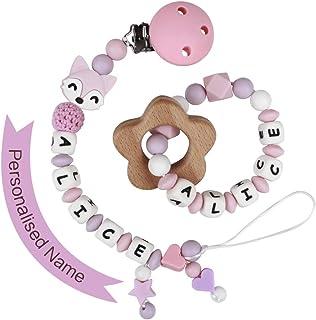 MCGMITT Attache Sucette Personnalisé Fille Bébé Silicone Anneaux Dentition Attaché Tétine (Rose avec anneau de dentition)