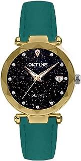 Docooler Women Fashion Brilliant Starry Night Dial Watch Lady Exquisite Heart-Shaped Calendar Quartz Wrist Watch