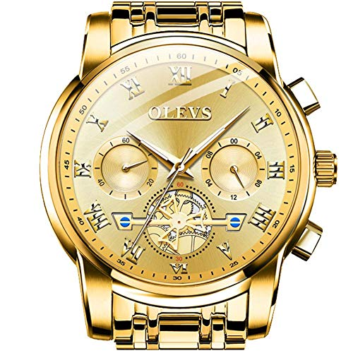 OLEVS All Gold Men Watches Fashion Chronograph for Men Analog Quartz Stainless Steel Watch Business Casual Luxury Big Face Date Watch Waterproof Sport Multifunction Under 40 Dollars Brand Men Watches