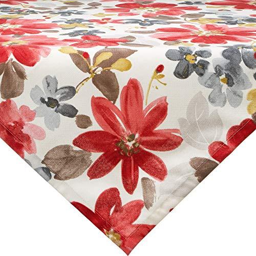 Erwin Müller Mitteldecke, Tischdecke mit Druckmotiv Blumen Blume rot Größe 85x85 cm - langlebige, robuste Qualität, mit hochwertigem Kuvertsaum (weitere Größen)