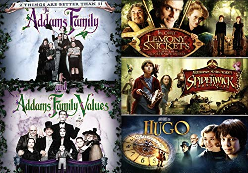 Values Fantasy Kids Magical Creepy 5 Movie Family Feature Addams Family Spooky / Lemony Snicket's Of Unfortunate Events + Spiderwick Chronicles family Imagination Fantasy & Hugo DVD