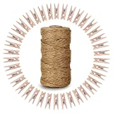 KINGLAKE 328 Feet Natural Jute Twine with 100 Pcs Mini Natural Wooden Clothespins Photo Pe...