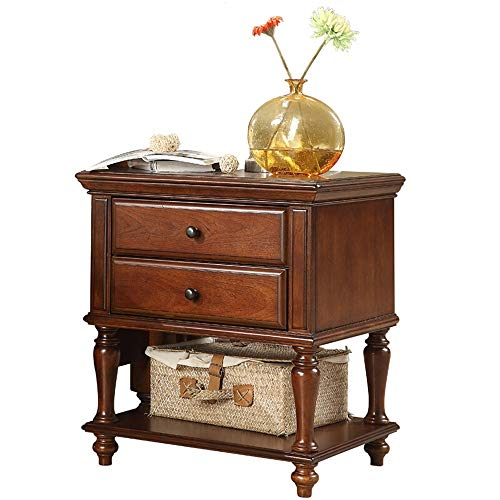 Purchase DEPRQ Nightstand Bedroom American Solid Wood Bedside Table European-Style Bedroom Modern Mi...