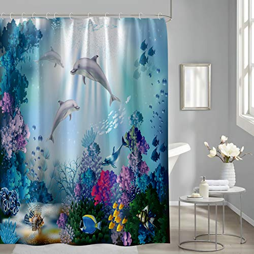 """Dolphin Shower Curtain, Blue Dream Sea World Colorful Underwater Algaes Sunbeam Tropical Fish Cute Ocean Animal Seabed Shower Curtain, Watercolor Decorations Bath Curtain, with 12 Hooks, 72"""" X 72"""""""