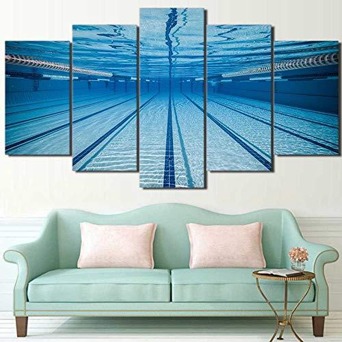 KAIWLH 5 Stücke Leinwand Malerei Hauptdekoration Rahmen Leinwand Bilder Wandkunst 5 Panel Swimmingpool Für Wohnzimmer Moderne Hd-Gedruckte Plakatmalerei