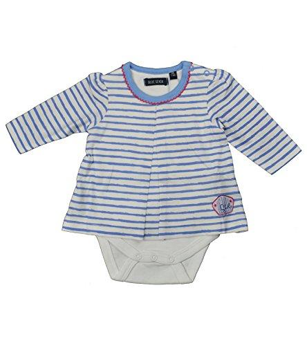 Blue Seven Baby Mädchen Body-Shirt (Kombination aus Body und Shirt) 100% Baumwolle (68, blau gestreift)