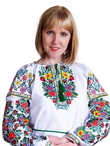 Italienische Folk-Bluse, bestickt, natürliche Baumwolle, traditioneller Ethno-Stil, neu Gr. X-Large, weiß