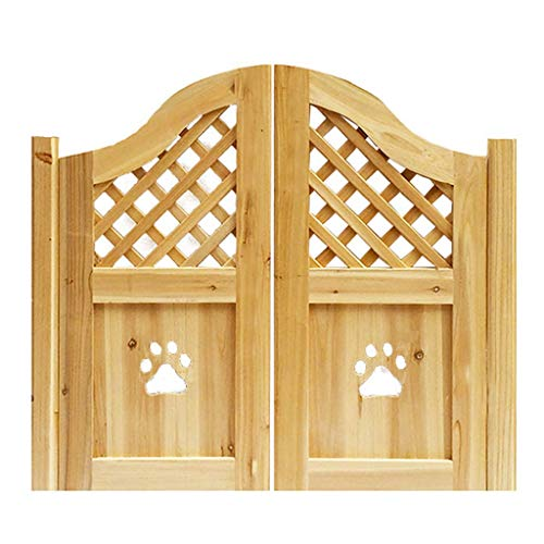 Interior Doors Hollow Paw Swinging Cafe Doors, Wooden Bar Doors Include Hinges, Pet Gate, Baby Gate, Archway Style Saloon Doors For Any 32'- 40' Door Opening, Unfinished, Customizable Size Home Access
