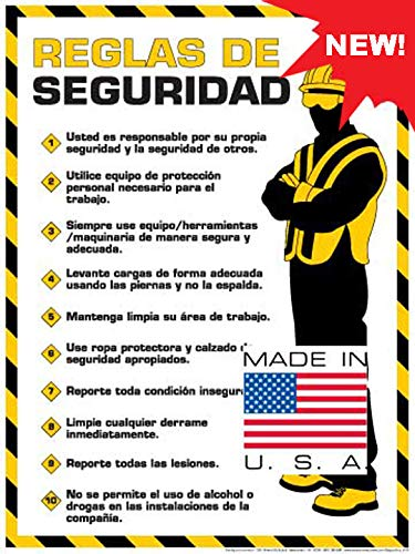 "Workplace Safety Rules Poster (18"" x 24"" Spanish Text)"