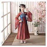 YUNGYE Disfraz de hada hanfu chino para niña con falda de hada Hanfu y manga larga para verano (color: estilo O, tamaño: 150 cm)