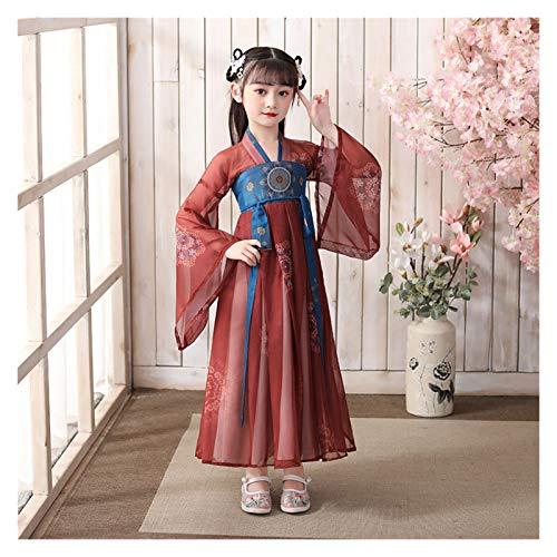 Ragazze Hanfu Stile Cinese Super Fata Gonna Bambini Costume Vestito Hanfu Fata Scorre Maniche Lunghe Abito Estivo (Colore: Stile O, Taglia : 150cm)