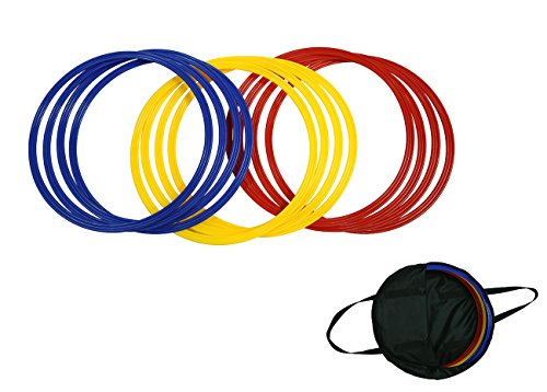 """Trademark Innovations Speed & Agility Training Rings - Set of 12 - 16"""" Diameter - With Carrycase - (Multicolor)"""