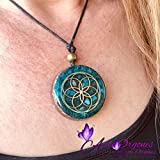 Orgonite necklaces by Seed of Life - Healing crystals with sacred geometry for EMF protection - Orgone pendant with turquoise, moonstone and pink quartz, meditation, yoga,reiki, handmade, arte orgones