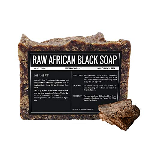 Sheanefit Raw African Black Soap Bar - All Skin Types - Face, Body, Hair Wash - 1lbs, 2lbs, 3lbs, 5lbs, 10lbs (1 lbs, African Black Soap)