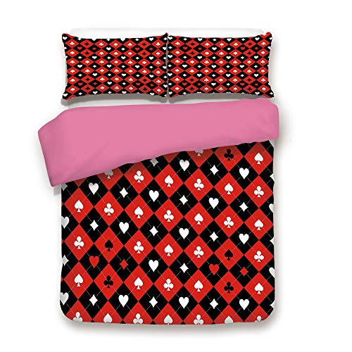 Zimmer Poker Tournament Decorations Duvet Cover 3PCS Set Card Suit Chess Board Classic Checkered Pattern Symbols Decorative Microfiber 3 Piece Bedding Set Twin,Best Gift Mother's Day Red Black White