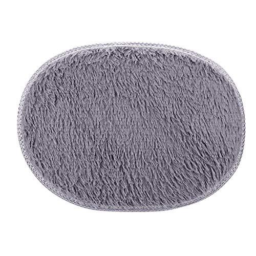 KEAINIDENI toiletmat 30 * 40cm Ovaal toiletmat Anti-Skid Fluffy Shaggy Area Tapijt Thuis Slaapkamer Badkamer Vloerdeur Mat Badkamer Tapijt Toilet Badmatten Grijs