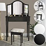 MIADOMODO Coiffeuse Table de Maquillage - 80/40/136cm Blanc ou Noir 3 Miroirs et...