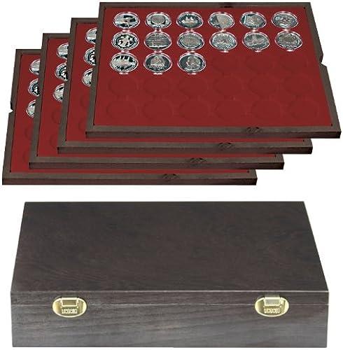 Lindner 2494-8 Echtholzkassette CARUS (für Münzkapseln mit 39 mm Au -