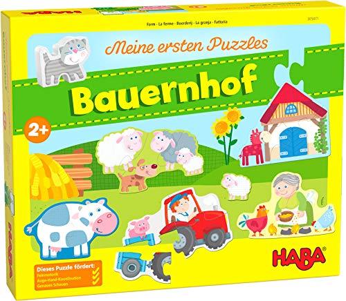 HABA 305471 - Meine ersten Puzzles – Bauernhof, Puzzlesammlung für Kinder ab 2 Jahren mit 5 Bauernhofmotiven und einer Katze aus Holz zum freien Spielen