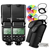 【技適マーク付/日本語説明書付】GODOX 2個入れ TT600 フラッシュ スピードライト マスター/スレーブフラッシュ with 内蔵 2.4G ワイヤレストリガ・システムGN60 Canon・Nikon・Pentax・Olympus DSLR カメラ対応