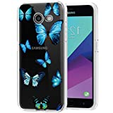 Gufuwo Clear Slim for Galaxy J3 2017/J3 Emerge/Express Prime 2/Amp Prime 2/J3 Mission/J3 Eclipse/J3 Luna Pro Case, Floral Soft TPU Rubber Protective Cover for Samsung Galaxy J3 Prime (Butterfly)