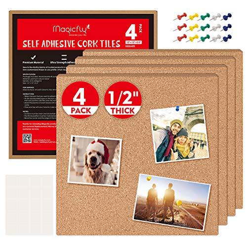 Magicfly Quadratische Korkfliesen, Pinnwand Kork, selbstklebende korkplatten mit Bonus 40 Pinnnadeln, Mini Wand Pinnwand für Notizen, Bilder, DIY Entwürfe, 30x30x1.2cm, 4 Stück