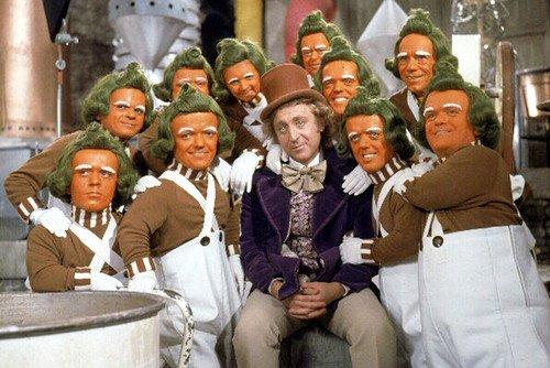 Gene Wilder en Willy Wonka y la fábrica de chocolate Oompa Loompa retrato