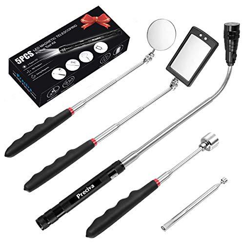 5 PCS Outil de Préhension Magnétique Télescopique pour Ramassage avec LED, Comprenant 15lb/1lb Outil de Ramassage/Rond/Carré Miroir dInspection/Poignée Télescopique Pivot 360°, 4 Batteries(Cinq kit)