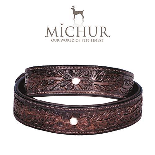 MICHUR Fabio Hundehalsband Leder, Lederhalsband Hund, Halsband, BRAUN, Leder, mit gestanzten Blumenmuster und einem weißen Stein, in verschiedenen Größen erhältlich