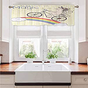 Farmhouse Valance Curtains Unicorn Party Energy Efficient Home Decor Tier Curtains Polka Dot Background with Hand Drawn Magical Animal Riding Bicycle on Rainbow Drapes for Sliding Glass Door