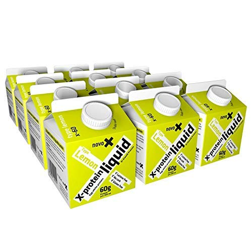 NOVOX Liquid Protein Boost-Aufkonzentriertes Eiklarprotein, Laktosefrei, Glutenfrei, Fettfrei, 60 Gramm Eiweiß, 10,4 Gramm BCAA (12 x 300 Ml Zitrone)
