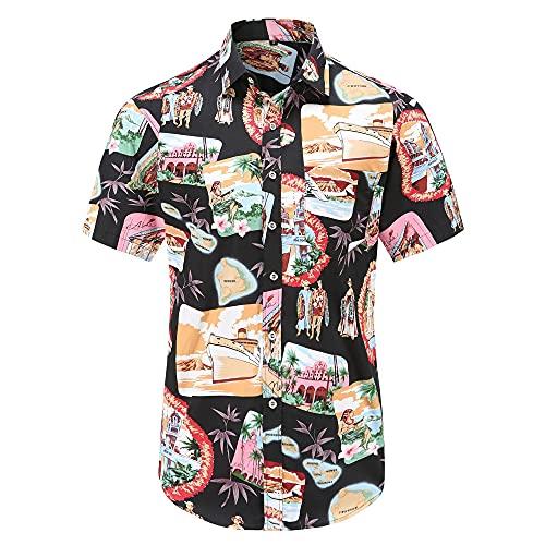 Shirt Playa Hombre Botones Verano Bolsillos Camisa Casual Hombre Manga Corta Estampado Personalidad Vintage Hombre Camisa Clásica Todos Los Días Hombre Shirt Hawaiana D-Multicolor 2 XL