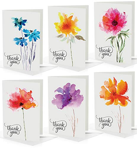 Floral Thank You Cards, Bulk Pack 100 Cards With Envelopes, Extra Thick Cards In BEAUTIFUL BOX, 6 Modern Designs, Thank You Notes For Professional Business, Engagement, Wedding, Bridal, Baby Shower