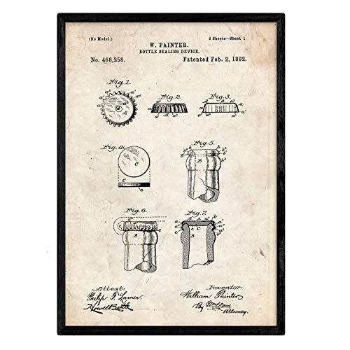Nacnic Poster Patent Kronkorken. Blatt mit altem Design-Patent in der Größe A3 und Vintage-Hintergrund