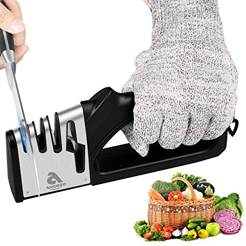 Knife Sharpener 4-Slot for Straight and Serrated Knives, Knife Sharpening Tool for Kitchen Knives,Easy Manual Sharpener with Cut-Resistant Glove ,Sharpens Dull Knives Quickly, Safe and Easy to Use