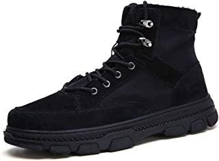 QinMei Zhou Outdoor Work Boots for Men Ankle Boots Lace up Cloth & Genuine Leather Patchwork Round Toe Lug Sole Anti-Slip Solid Color (Color : Black, Size : 6 UK)