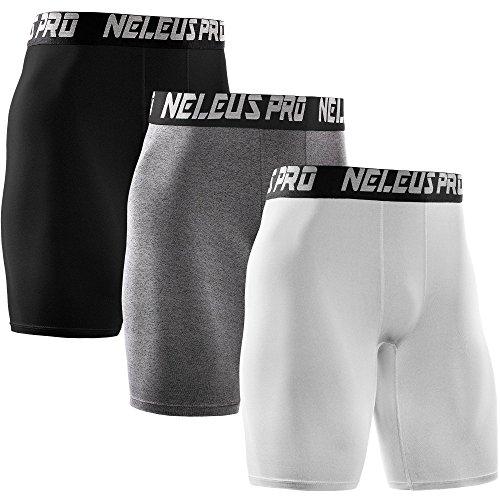 Neleus Men's 3 Pack Athletic Compression Short,6028,White,Black,Grey,US L,EU XL