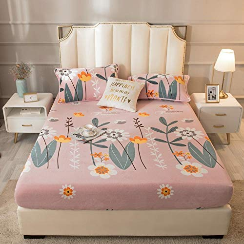 LCFCYY Super King Size Bed Sheets,Thick and warm crystal velvet mattress cover, cartoon printing mattress topper is suitable Kids bedroom-N_135*200cm