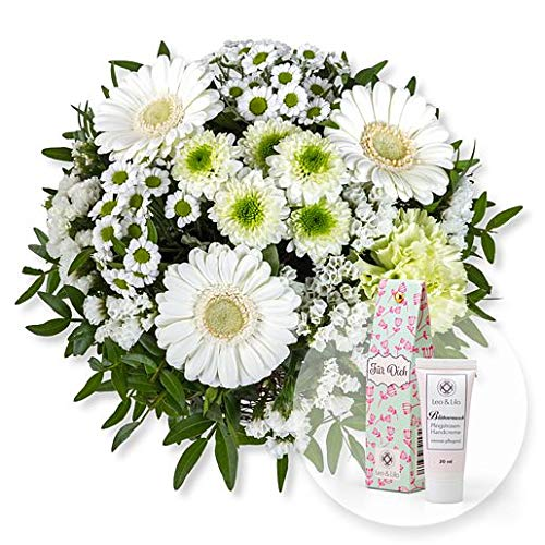 Blumenstrauß Petit Blanc und Blütenrausch Pfingstrosen-Handcreme Für Dich