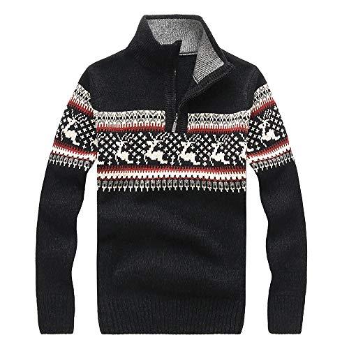 iZHH Men's Christmas Sweater Reindeer Pullover Sweatshirt Jumper Knitted Top Coat(Black,S)