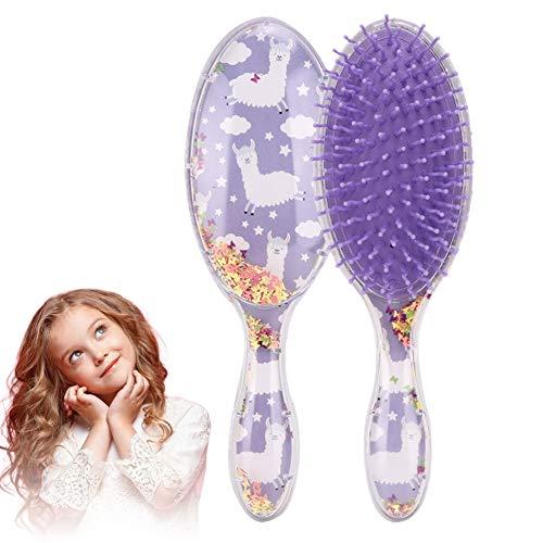 Cepillo para el cabello para mujeres Niña, Cojín de aire de dibujos animados Peine para el cabello Peine de peinado recto y rizado Peine Cepillo de masaje con lentejuelas de estrella(#02)
