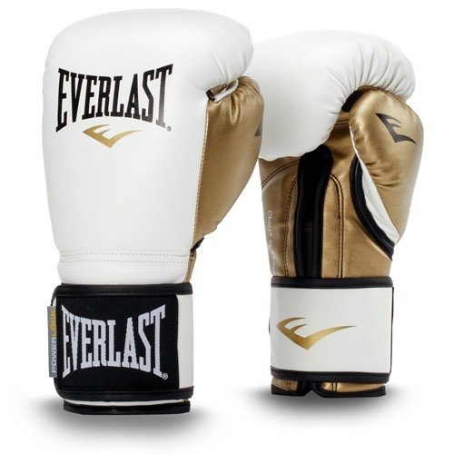 Everlast Erwachsene Powerlock Training Gloves PU Boxartikel, White/Gold, 14 OZ